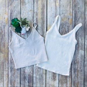 2 American Eagle Tank Tops Fitted Cropped Top XS